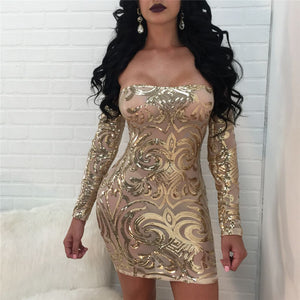 Sexy Sheer Mesh Sequins Off Shoulder Party Dress