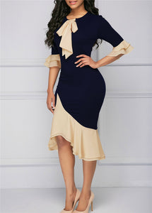 Elegant Bow Tie Flare Sleeve Bodycon Mermaid Dress - The Faddi Clothing Boutique - Sexy Club Party Clothes