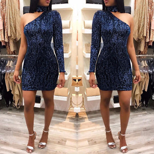 """Blue Diamond"" Sequins Dress - The Faddi Clothing Boutique - Sexy Club Party Clothes"