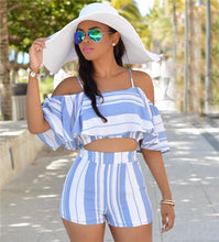 """Sunny Days"" Two Piece Striped Romper - The Faddi Clothing Boutique - Sexy Club Party Clothes"