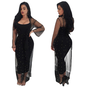 Black Diamond Studs Sheer Mesh Dress - The Faddi Clothing Boutique - Sexy Club Party Clothes