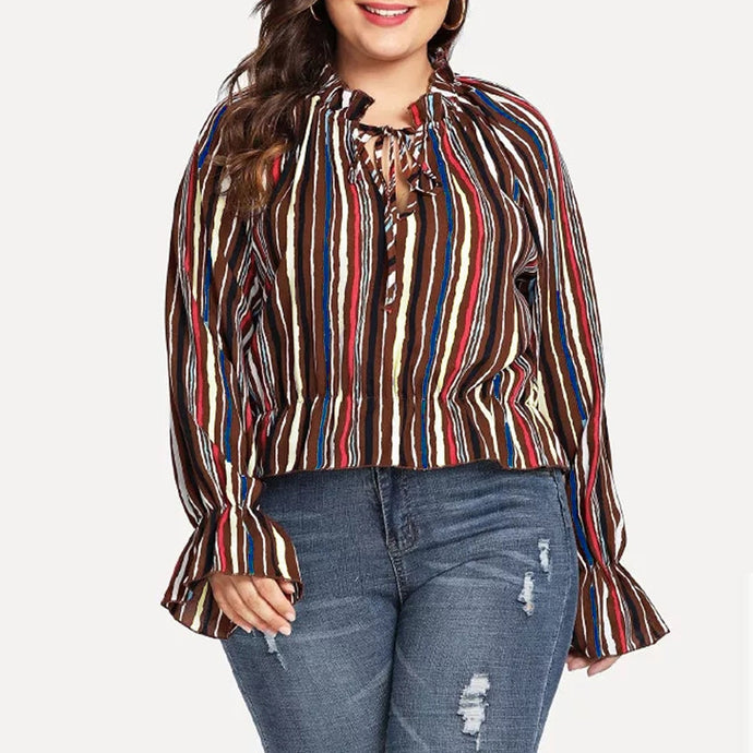 Plus Size Colorful Striped Blouse