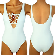 Retro Lace Up V-Neck Swimsuit (3 Colors Available) - The Faddi - Sexy Clothes, Stylish Fashion