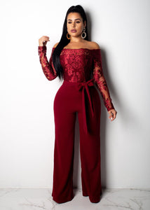 Elegant Lace Off Shoulder Wide Leg Jumpsuit - The Faddi Clothing Boutique - Sexy Club Party Clothes