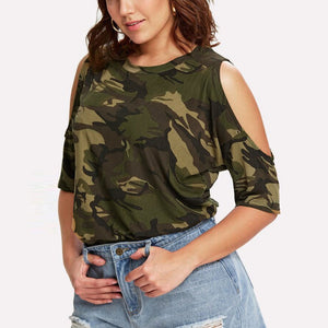 Plus Size Camouflage Cold Shoulder Top