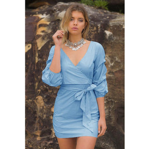 """Blue Allure"" Dress With Belt - The Faddi Clothing Boutique - Sexy Club Party Clothes"