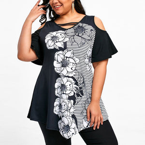 """Floral Shade"" Plus Size Fashion Blouse - The Faddi Clothing Boutique - Sexy Club Party Clothes"
