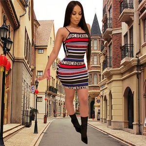 """Snatched"" Colorful Striped Ribbed Dress - The Faddi Clothing Boutique - Sexy Club Party Clothes"