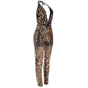 """Deep Illusion"" Mesh Sequins Jumpsuit - The Faddi Clothing Boutique - Sexy Club Party Clothes"