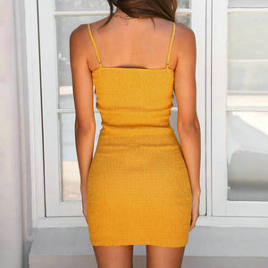 Sexy Yellow Sleeveless Summer Dress