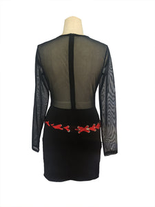 """Home Run"" Black Sheer Mesh Top Dress - The Faddi Clothing Boutique - Sexy Club Party Clothes"