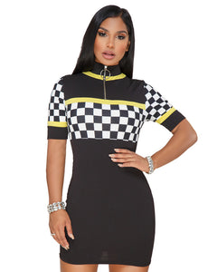 """Racing Beauty"" Zipper Neckline Dress - The Faddi Clothing Boutique - Sexy Club Party Clothes"