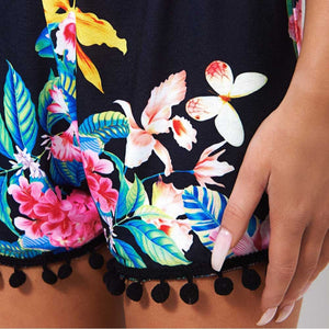 Vintage Tassel Black Floral Print Short - The Faddi - Sexy Clothes, Stylish Fashion