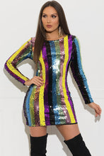 Rainbow Striped Sequins Party Dress