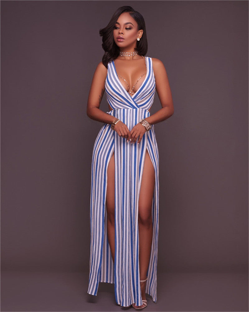 3d37006941 ... Blue Striped High Double Slit Sexy Maxi Dress - The Faddi Clothing  Boutique - Sexy Club ...
