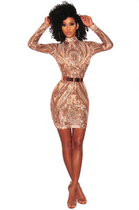 Sexy Long Sleeve Sequins Party Dress