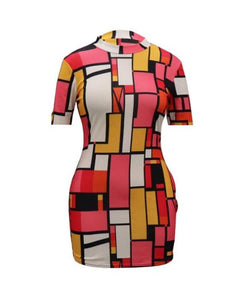 """Color Collage"" Vintage Bodycon Dress - The Faddi Clothing Boutique - Sexy Club Party Clothes"