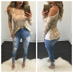 Snakeskin Off Shoulder Long Sleeve Shirt