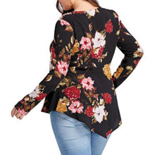 """Floral Cocktail"" Zipper V-Neck Plus Size Top - The Faddi Clothing Boutique - Sexy Club Party Clothes"