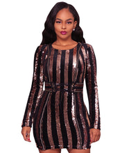 Striped Sequins Adjustable Waist Party Dress