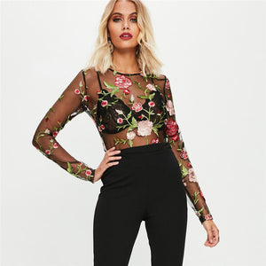 Black Sheer Mesh Floral Embroidered Bodysuit - The Faddi Clothing Boutique - Sexy Club Party Clothes