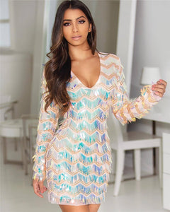 0c624fa0ccfa Beaded Changing Color Sequins Dress - The Faddi Clothing Boutique - Sexy  Club Party Clothes