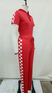Checkerboard Crop Top & Pants w/ Hoodie - The Faddi Clothing Boutique - Sexy Club Party Clothes
