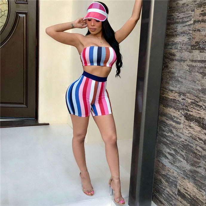 b71f452b45 Colorful Striped High Waisted Shorts   Crop Top Set