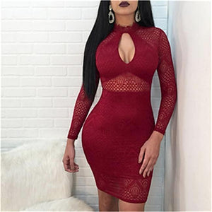 """Red Insights"" Lace Back Zipper Dress - The Faddi Clothing Boutique - Sexy Club Party Clothes"