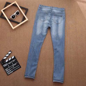 Skinny Ripped Hole Rose Accent Jeans - The Faddi - Sexy Clothes, Stylish Fashion