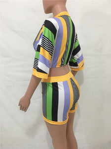 """Vivid Vibes"" Stripe Two Piece Set - The Faddi Clothing Boutique - Sexy Club Party Clothes"