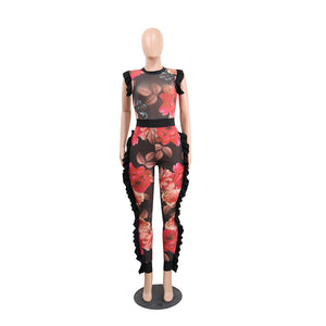 """Ruffling Feathers"" Floral Print Mesh Top Jumpsuit - The Faddi Clothing Boutique - Sexy Club Party Clothes"