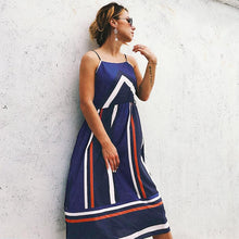 """So Boho"" Striped Print Blue Dress - The Faddi Clothing Boutique - Sexy Club Party Clothes"