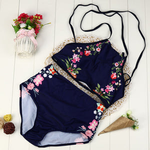 Vintage High Waist Sexy Blue Floral Two Piece Set - The Faddi - Sexy Clothes, Stylish Fashion