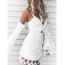 Lace Flare Sleeve Cold Shoulder Backless Dress