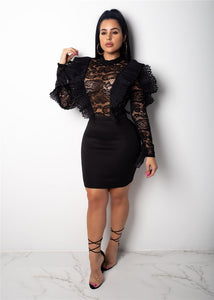 """Butterfly"" Black Ruffle Lace Dress - The Faddi Clothing Boutique - Sexy Club Party Clothes"