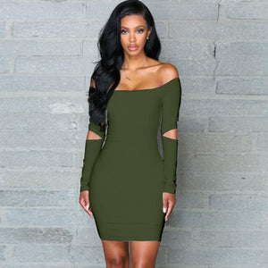 Sexy Off The Shoulder Bodycon Dress (3 Colors Available) - The Faddi - Sexy Clothes, Stylish Fashion