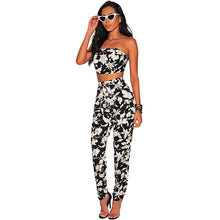 Strapless Leaf Print Crop Top & Pants Set