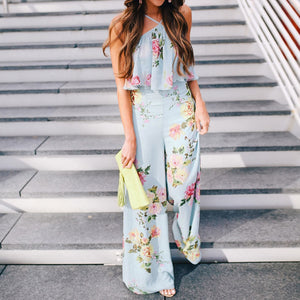 """Boho Floral"" Sky Blue Jumpsuit - The Faddi Clothing Boutique - Sexy Club Party Clothes"