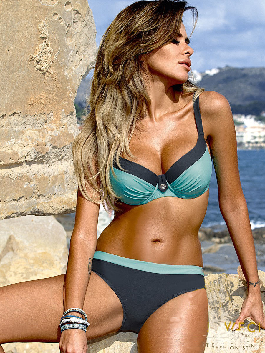 Sexy Push-up Bra Retro Swimsuit Bikini (Blue) - The Faddi - Sexy Clothes, Stylish Fashion