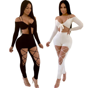 Crop Top & Lace Cutout Pants Two Piece Set - The Faddi Clothing Boutique - Sexy Club Party Clothes