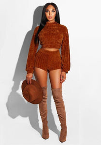 Knitted Long Sleeve Crop Top And Shorts Set