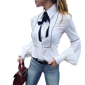 """Preppy Princess"" Front Tie Bow Blouse - The Faddi Clothing Boutique - Sexy Club Party Clothes"