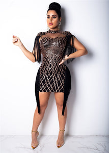 """Web of Desire"" Tassel Mesh Fashion Dress - The Faddi Clothing Boutique - Sexy Club Party Clothes"