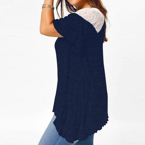 """Lace Peek"" Plus Size Flare Blue Shirt - The Faddi Clothing Boutique - Sexy Club Party Clothes"