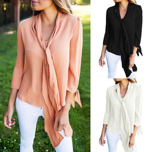 Elegant Long Sleeve Blouse w/ Scarf - The Faddi Clothing Boutique - Sexy Club Party Clothes