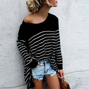 Striped Off Shoulder Long Sleeve Top (2 Colors Available) - The Faddi - Sexy Clothes, Stylish Fashion