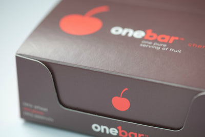Closed Onebar 12 pack box with cherry flavor.