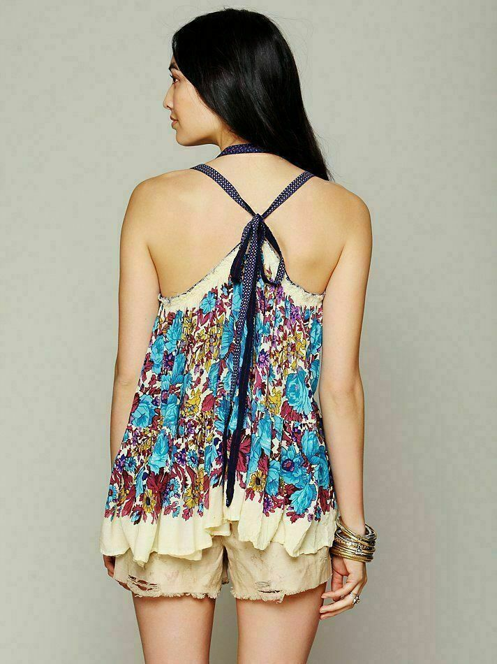 Free People FP One Living Floral Print Blouse Tank Top M/L