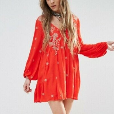 Free People Sweet Tennessee Embroidered Flowy Swing Boho Mini Dress S